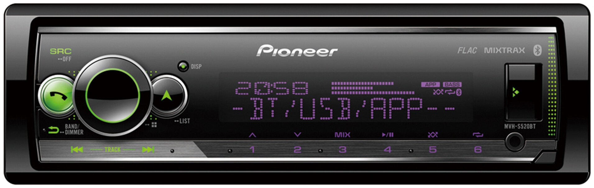 PIONEER MVH-S520BT - Autorádio s USB a bluetooth hands free, bez mechaniky